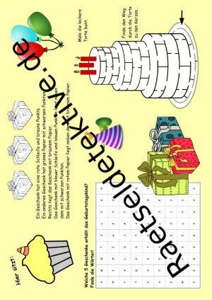 Tischunterlage / Platzdeckchen: Kindergeburtstag (schwer)