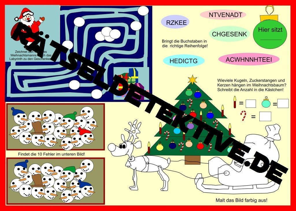 Tischunterlage für Weihnachten - Rätseldetektive