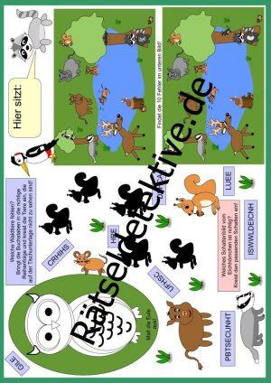 Tischunterlage / Platzdeckchen: Waldtiere