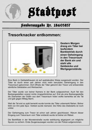 Schnitzeljagd: Der Tresorknacker 8-14 Jahre