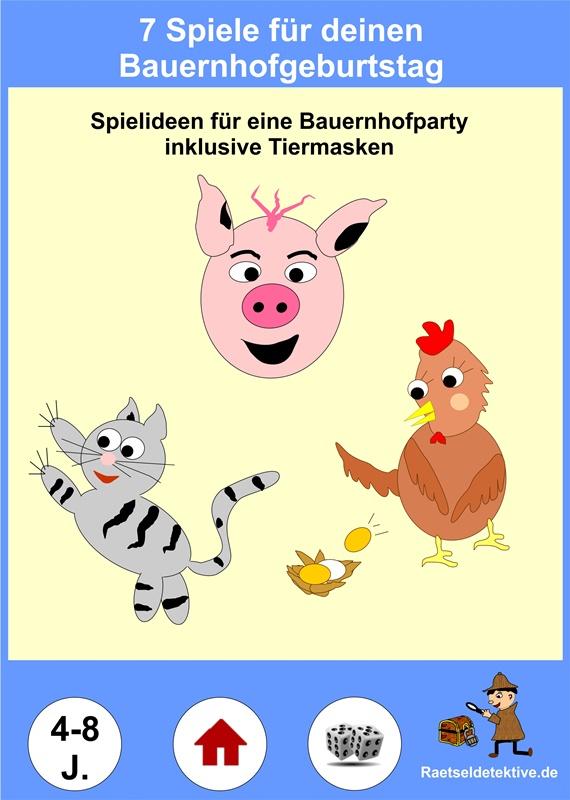 Bauernhofgeburtstag Spielideen Tiermasken