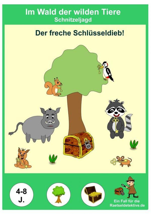 Rätsel Schatzsuche Kindergeburtstag Aufgaben Spiele Wald Tiere